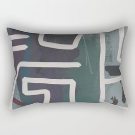 Muted Blue and Green Painting with Abstract White Line Rectangular Pillow