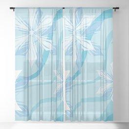 The Art Winter Blue Flower Sheer Curtain