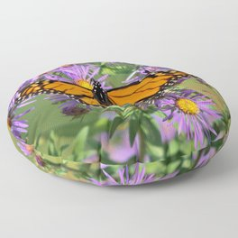 Monarch Butterfly on Wild Aster Flowers Floor Pillow