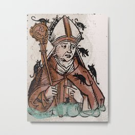 Archbishop Hatto eaten alive by mice in 974 A.D. Metal Print
