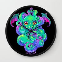 cthulhu Wall Clocks featuring Cthulhu by Gunkiss