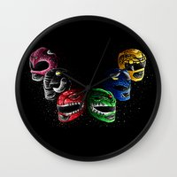 power rangers Wall Clocks featuring Mighty Morphin Power Rangers by Jelly Soup Studios