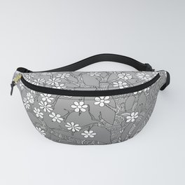 zen tangled apple tree with blossom on the grey gradient Fanny Pack