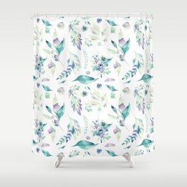 Modern jade green lavender watercolor floral Shower Curtain