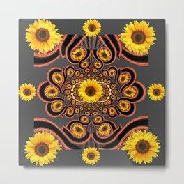 DecorativeCharcoakl Grey-Black Art Deco Yellow Sunflowers Pattern Metal Print