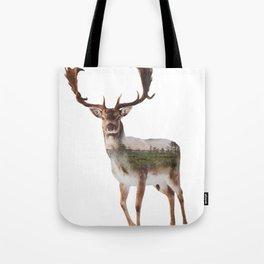 Deer Double Exposure Tote Bag