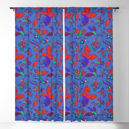 Pattern with Firebirds (on blue background) Blackout Curtain