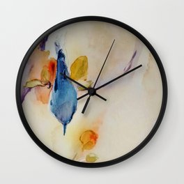 NutHatch Down watercolour by CheyAnne Sexton Wall Clock