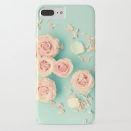 Composition of roses over mint iPhone Case