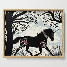 Folk Unicorn Serving Tray