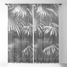 Tropical Botanic Jungle Garden Palm Leaf Black White Sheer Curtain