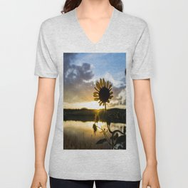 Sunflower Sunset Unisex V-Neck