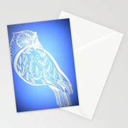 Owl with blue and white patterns Stationery Cards