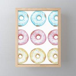 Fun watercolor glazed donuts pattern Framed Mini Art Print