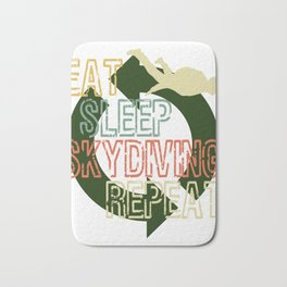 """A Nice Skydiving Tee For Skydivers """"Eat Sleep Skydiving Repeat"""" T-shirt Design Extreme Sports Jump Bath Mat"""