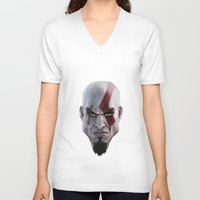 video games V-neck T-shirts featuring Triangles Video Games Heroes - Kratos by s2lart