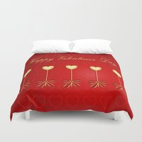 valentines Duvet Covers featuring Happy Valentines Day Celebration by Wendy Townrow