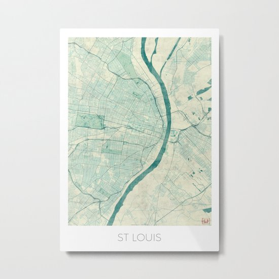 St. Louis Map Blue Vintage Metal Print