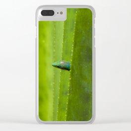 Peekaboo! A gecko in the agave Clear iPhone Case