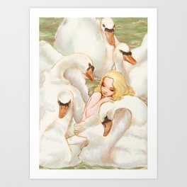 Elise and the Wild Swans Art Print