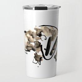 British Badger Ink and Watercolour Illustration Travel Mug