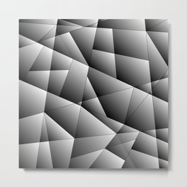 Exclusive strict gray pattern of chaotic black and white fragments of metal, glare and ice floes. Metal Print