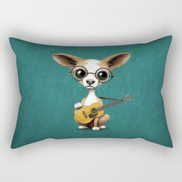 Chihuahua Puppy Dog Playing Old Acoustic Guitar Teal Rectangular Pillow