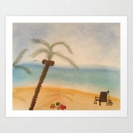 Guitar and the Beach Art Print