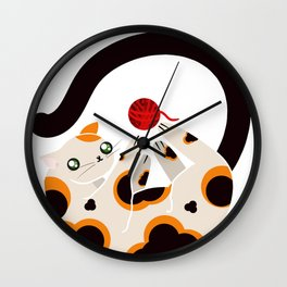 Playing cat Wall Clock