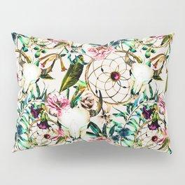 Bohemian Skull Pattern Flowery Vibrant Colors Pillow Sham