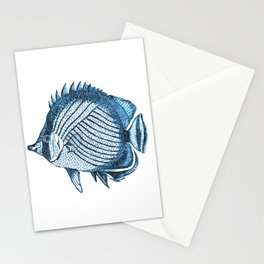 Fish coastal ocean blue watercolor Stationery Cards