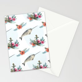 Summertime Nautical Narwhal Stationery Cards
