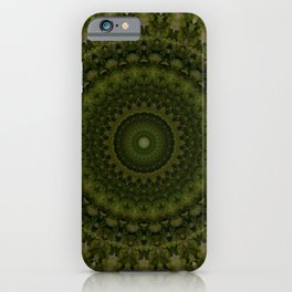 Mandala in olive green tones iPhone Case