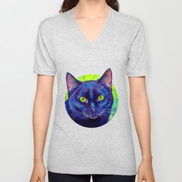 Black Cat with Chartreuse Eyes Unisex V-Neck