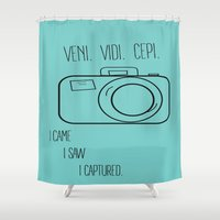 camera Shower Curtains featuring Camera by MeganAnn