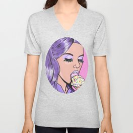 Purple Ice Cream Comic Girl Unisex V-Neck