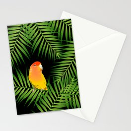 Lovebird Parrots in Green Palm Leaves on Black Stationery Cards
