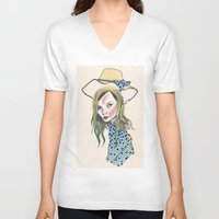 kate moss V-neck T-shirts featuring Kate Moss by Sindecualo