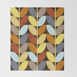 Retro 70s Color Palette Leaf Pattern Throw Blanket