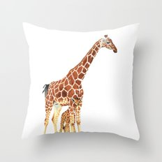 Giraffe Art - A Mother's Love - By Sharon Cummings Throw Pillow