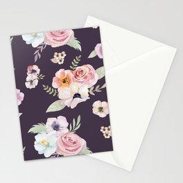 Floral I - Eggplant Stationery Cards