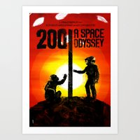 2001 a space odyssey Art Prints featuring 2001: A Space Odyssey by Dan K Norris