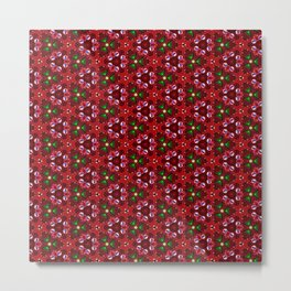 Beautiful Red and Green Beaded Pattern Metal Print