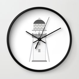 Lighthouse in gray an white Wall Clock