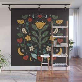 Folk Floral   Fall Colors Wall Mural