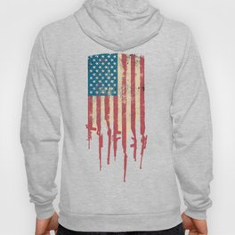 Distressed USA American Flag Made of Guns and Rifles Hoody