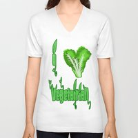 vegetarian V-neck T-shirts featuring i love vegetarian by Adiel Azrai