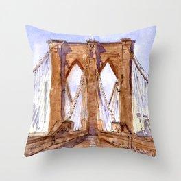 Walking Over Brooklyn Bridge Throw Pillow