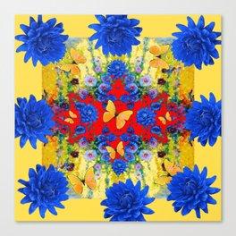 YELLOW GARDEN BLUE  FLOWERS YELLOW BUTTERFLIES PATTERN ART Canvas Print