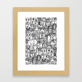 animal ABC black white Framed Art Print